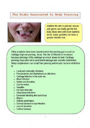 English Worksheets: Types of Body Piercing and Its Risks