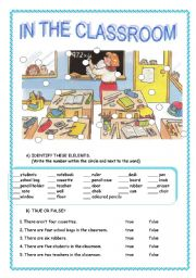 English Worksheets: school objects