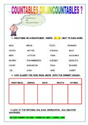English Worksheets: COUNTABLE OR UNCOUNTABLE?