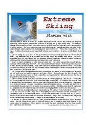 English Worksheets: Extreme Skiing