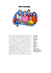 English Worksheet: The Family Wordsearch