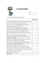Learning English - student self assessment form