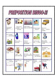 English Worksheets: preposition bingo 2