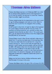 English Worksheets: Thomas Alva Edison