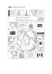 English Worksheets: Where in the World?
