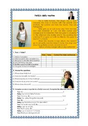 English Worksheets: Nelly�s daily routine