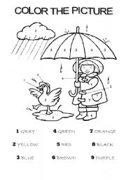 English Worksheets: COLOR THE PICTURE