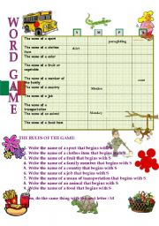English Worksheet: WORD GAME
