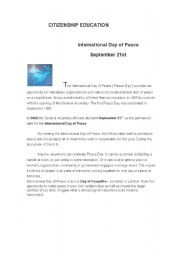 Citizenship Education: International Day of Peace ( woksheet 1)