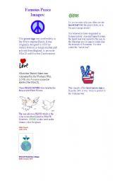English Worksheet: Citizenship Education: Famous Peace Signs (worksheet 2)