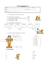 english diagnostic test: presentation, numbers, colours, parts of the body