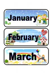 English Worksheet: Calendar flashcards set 1