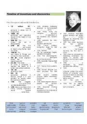 English Worksheets: timeline of inventions and discoveries