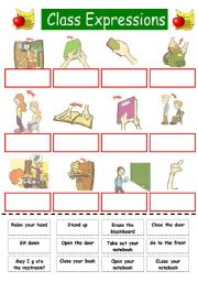 English Worksheet: class expressions (for kids) cut and paste
