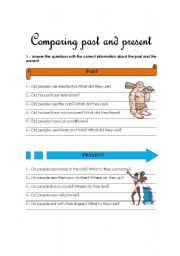 English worksheet: comparing past and present
