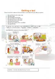 English Worksheet: Getting a taxi role play and conversation maker (001)