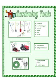 English teaching worksheets tools for Gardening tools dictionary