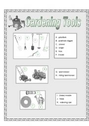 English worksheet: Garden Tools Picture Dictionary (half pg-grayscale)
