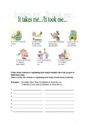 English Worksheets: It takes me/it took me