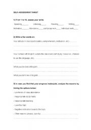 English worksheet: self-assessment sheet