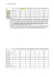 English Worksheet: Comparative Game
