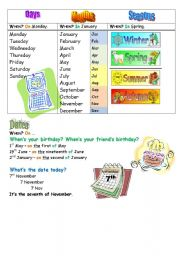 English Worksheet: days months seasons date