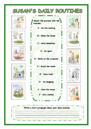 English Worksheets: Suzan�s Daily Routines