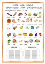 English Worksheet: FOOD AND DRINKS 2ND PART (COUNTABLES AND UNCOUNTABLES)