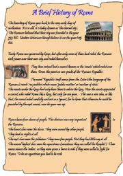 English Worksheets: A brief history of Rome