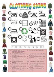 worksheet: CLOTHING CARE LABELS