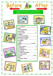English Worksheet: My daily activities (after or before)