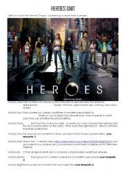 English Worksheet: HEROES UNIT PLAN