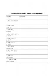 English Worksheets: Preposition scavenger hunt