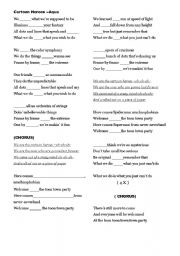 English worksheet: Cartoon Heroes By Aqua-Very Elementary