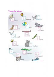 English Worksheets: trace the letters