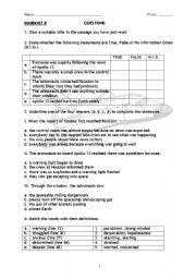 Reading Comprehension Questions   Apollo 13   ESL ...
