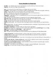 English Worksheets: From shoulder to fingertips