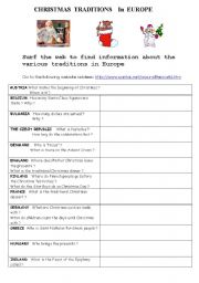 English Worksheet: Christmas traditions in Europe