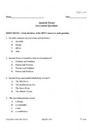 English Worksheet: Ancient Rome Quiz