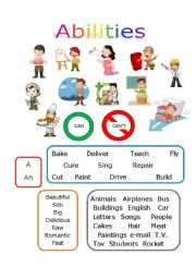 English Worksheets: Abilities + Occupations CAN/CAN�T