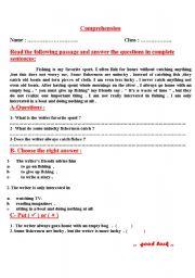 English Worksheets: comprehention