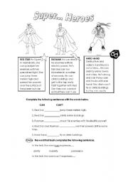 English Worksheet: Super.. Heroes CAN/CAN�T