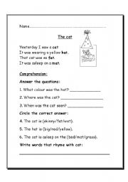 English Worksheet: poem comprehension