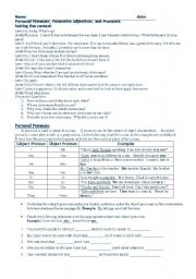 English Worksheets: Possesives adjectives and nouns.