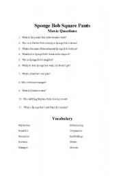 English Worksheets: Spongebob movie questions