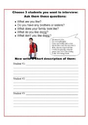 English Worksheets: Choose 3 students to interview