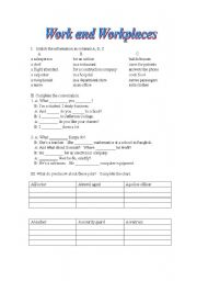 English Worksheet: work and workplaces