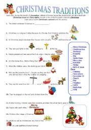 ESL worksheets for beginners: CHRISTMAS TRADITIONS