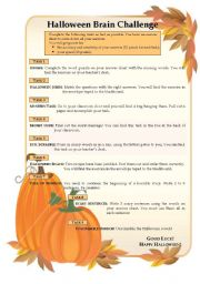 English Worksheets: Halloween Brain Challenge