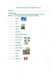 English worksheets: Renewable and Non Renewable Sources